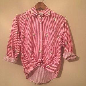 Vintage 80s Striped Patterned Button Up Blouse